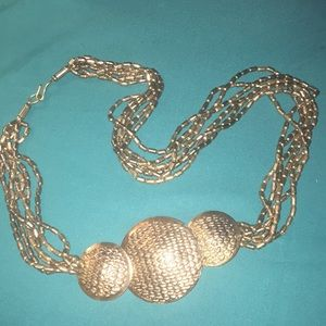 Vintage Heavy Silver Beaded 3 Disc Necklace